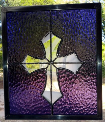 Stained Glass Purple w/White Clear Cross